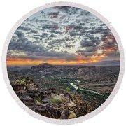 Rio Grande River Sunrise 2 - White Rock New Mexico Round Beach Towel