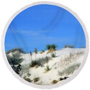 Rippled Sand Dunes In White Sands National Monument, New Mexico - Newm500 00106 Round Beach Towel