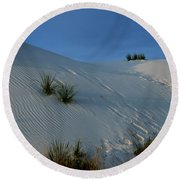 Rippled Sand Dunes In White Sands National Monument, New Mexico - Newm500 00118 Round Beach Towel