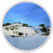 Rippled Sand Dunes In White Sands National Monument, New Mexico - Newm500 00119 Round Beach Towel