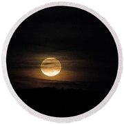 Rising October Moon Round Beach Towel