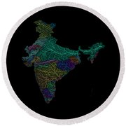 River Basins Of India In Rainbow Colours Round Beach Towel