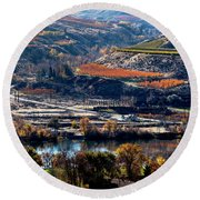 River, Canyon And Slopes Round Beach Towel