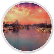 River Thames At Molesey Round Beach Towel