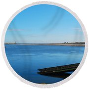 River Tweed Estuaryto Spittal, Pier With Lighthouse And Chimney Round Beach Towel