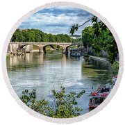 Riverboats Round Beach Towel