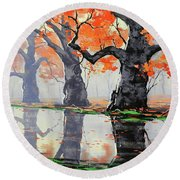 Riverside Trees Round Beach Towel