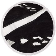 Road Not Taken Round Beach Towel