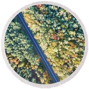 Road Through Colorful Autumn Forest Round Beach Towel