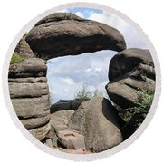 Rock Gate In The Nature Reserve Broumov Walls Round Beach Towel