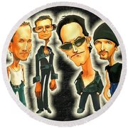 Rock N' Roll Warriors - U2 Round Beach Towel