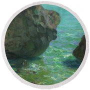 Rocks At Cap Negret Sp Round Beach Towel