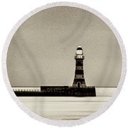 Roker Pier And Lighthouse In Sepia Round Beach Towel