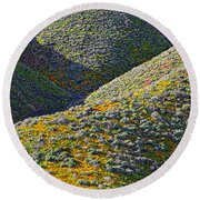 Rolling Hillsides In California - Vertical Round Beach Towel