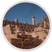 Roman Temple In Petra Round Beach Towel