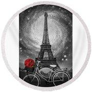 Romance At The Eiffel Tower Round Beach Towel