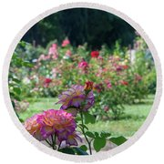 Rome Rose Garden Round Beach Towel