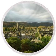 Rooftops Of Ambleside In Early Morning In The Lake District Round Beach Towel