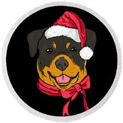Rotweiler Xmas Hat Dog Pet Lover Christmas Round Beach Towel