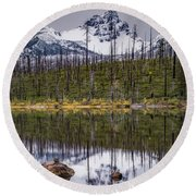 Round Lake Reflection Round Beach Towel