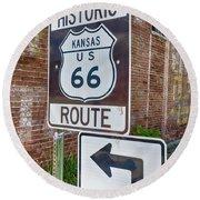 Route 66 - Kansas #1 Round Beach Towel
