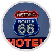 Route 66 Motel Round Beach Towel