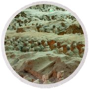 Rows Of Terra Cotta Warriors In Pit 1 Round Beach Towel