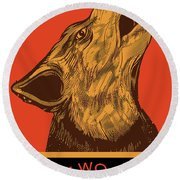 Rubino Wolf Dog Love One World Round Beach Towel