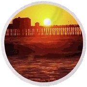 Ruby Sunset Oceanside Pier Round Beach Towel