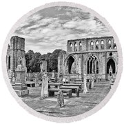 Ruins Of A Cathedral, Elgin Cathedral Round Beach Towel