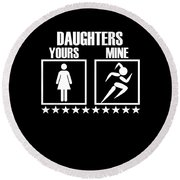 Runner Mom Dad Gift Parent Of Track And Field Daughter Round Beach Towel