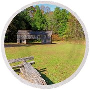 Rustic Double Crib Barn And Split Rail Fence In Cades Cove Round Beach Towel