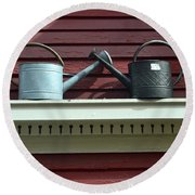 Rustic Watering Cans  Round Beach Towel