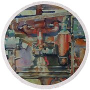 Rusty Engine  Round Beach Towel