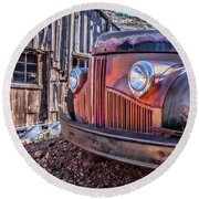 Rusty Old Truck In A Ghost Town In Arizona Round Beach Towel