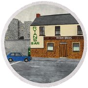 Ryans Pub And Swords Castle Painting Round Beach Towel