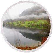 Rydal Water On A Misty Day In December Round Beach Towel
