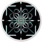 Sacred Circle Design In Blues And White Round Beach Towel