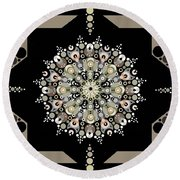 Sacred Circle Design In Gold, Cream And White Round Beach Towel