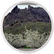 Saddle Rock And Apple Blooms Round Beach Towel