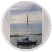 Sailboat In The Bay Area Round Beach Towel