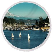Sailboats At Gig Harbor Marina With Mount Rainier In The Background Round Beach Towel