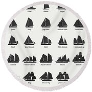 Sailing Vessel Types And Rigs Round Beach Towel