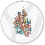 Sailor On Anchor Round Beach Towel