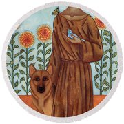 Saint Francis And The Wolf Of Gubbio Round Beach Towel
