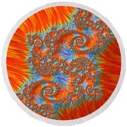 Saint Georges Vanquished Dragon Fractal Abstract Round Beach Towel by Rose Santuci-Sofranko