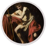 Saint John The Baptist In The Wilderness             Round Beach Towel