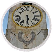Saint Mary Church Clock Tower In Tavira. Portugal Round Beach Towel