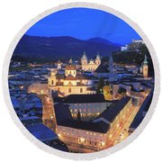 Salzburg At Night Austria  Round Beach Towel