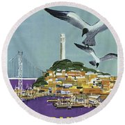 San Francisco American Airlines Round Beach Towel